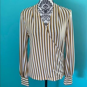NWT Adrianna Papell Striped Stretch Blouse Top S